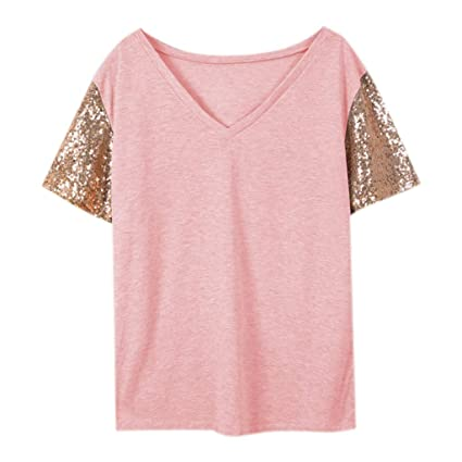 a21643c1d60b20 Amazon.com - Womens Casual Sequin Glitter Color Block Short Sleeve T Shirts  Blouses Tops (Pink, S) -
