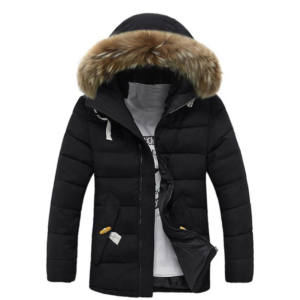 FUNOC Men's Winter Thicken Cotton Coat Slim Fit Parka Jacket with Fur Hood