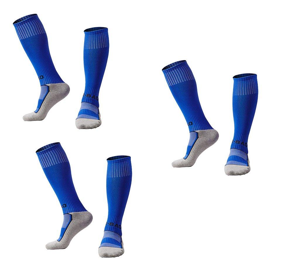 OUAYJI kids Knee High Sport Towel Bottom training compression Soccer Football Socks 3 pairs blue by OUYAJI