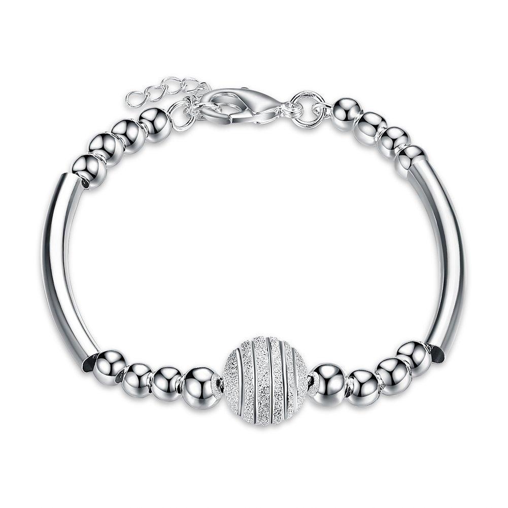 Mrsrui 925 Sterling Silver Plated Daisy Ball Bead Flower Heart Charm Link Bracelet (H)