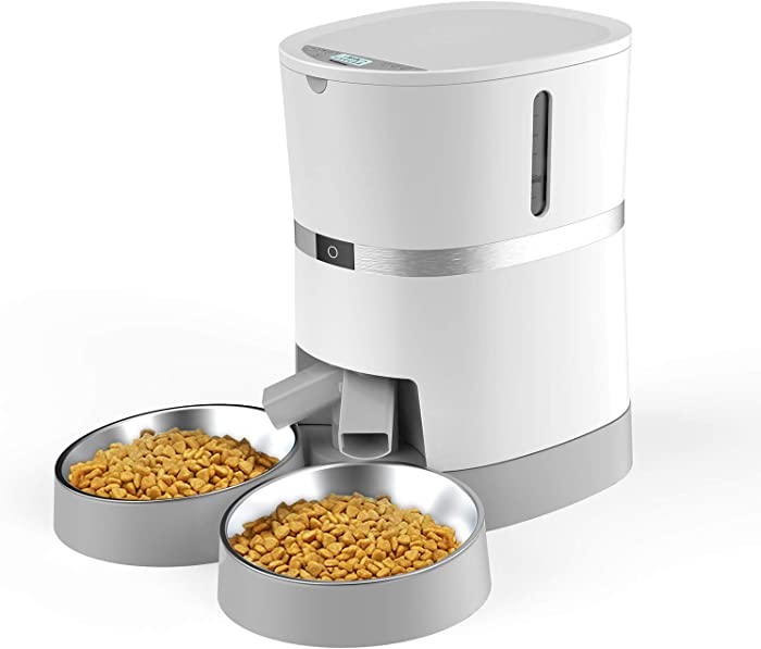 Automatic Cat Feeder, WellToBe Pet Feeder Food Dispenser for Cat & Small Dog with Two-Way Splitter and Double Bowls, up to 6 Meals with Portion Control, Voice Recorder - Battery and Plug-in Power