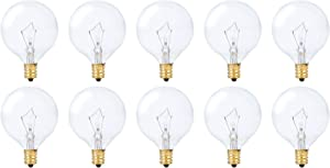 Simba Lighting Small Globe G16.5 Round Bulb 40W E12 Candelabra Base (10 Pack) for Chandelier, Ceiling Fan Light, Decorative Vanity Lights, Wall Sconce, Clear Glass 110V 120V, 2700K Warm White Dimmable