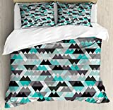 Grey and Turquoise Queen Size Duvet Cover Set by Ambesonne, Futuristic Geometric Mosaic Design with Triangles and Zig Zags, Decorative 3 Piece Bedding Set with 2 Pillow Shams, Turquoise Grey Black
