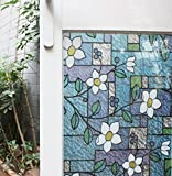 Viclover Stained Glass Window Film Non-Adhesive Static Vinyl Window Films Privacy Decorative Window Clings Color Flower Pattern Design 17.71 inches by 78.74 inches