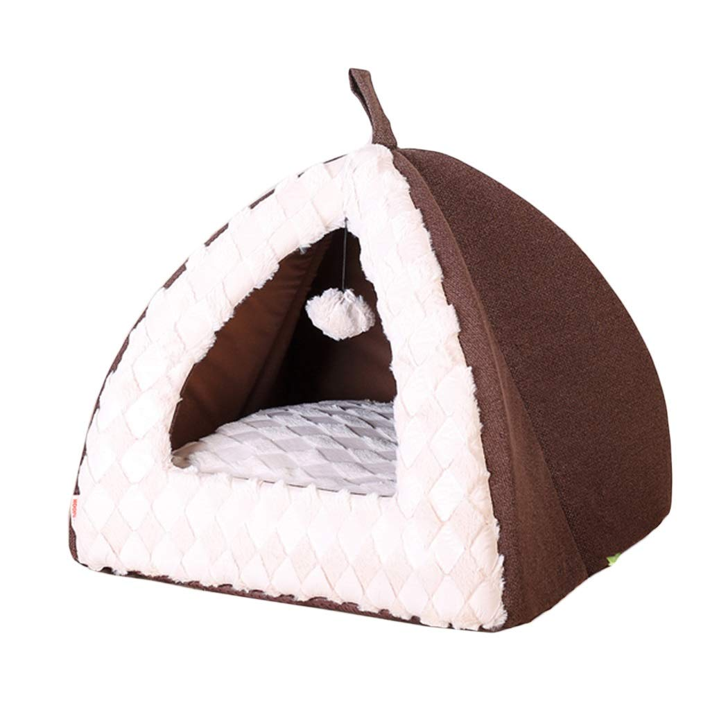 BROWN S BROWN S ZHAO ZHANQIANG Deep sleep, Cat house, four seasons universal, winter, warm dog kennel, small and medium dog bed (color   BROWN, Size   S)