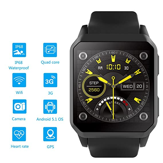Amazon.com: Smart Watch Android 5.1 IP68 Waterproof ...