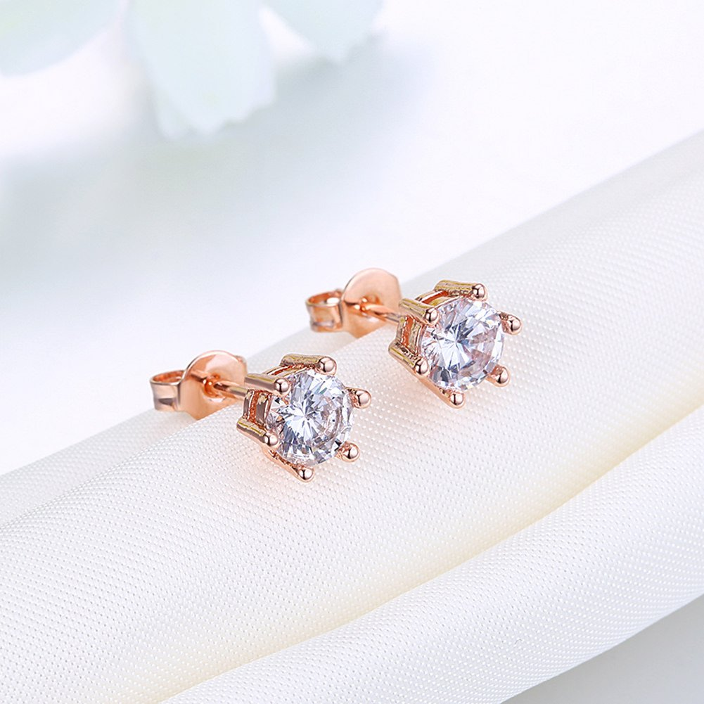 JEMEIRA ATWOOD 10Kt Gold Plated Round Cut Cubic Zirconia Stud Earrings