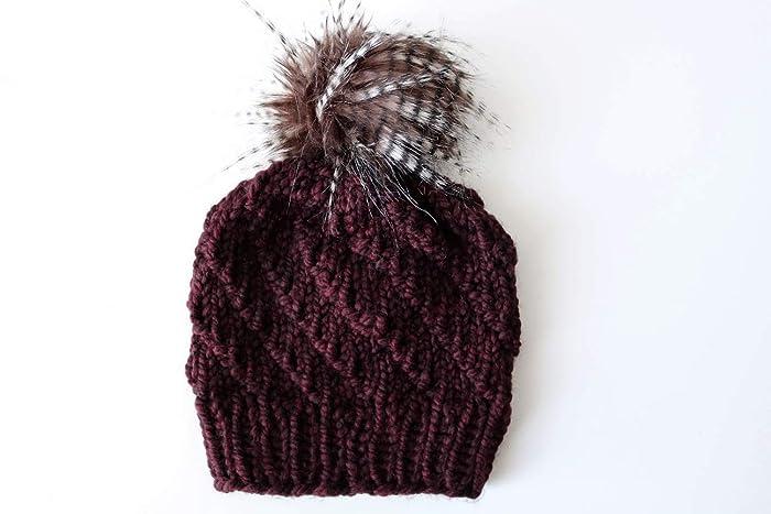 c134c6bf763 Amazon.com  Knit Spiral Stitch Beanie Hat with Faux Fur Pom Pom (Adult).  Handmade in Burgundy