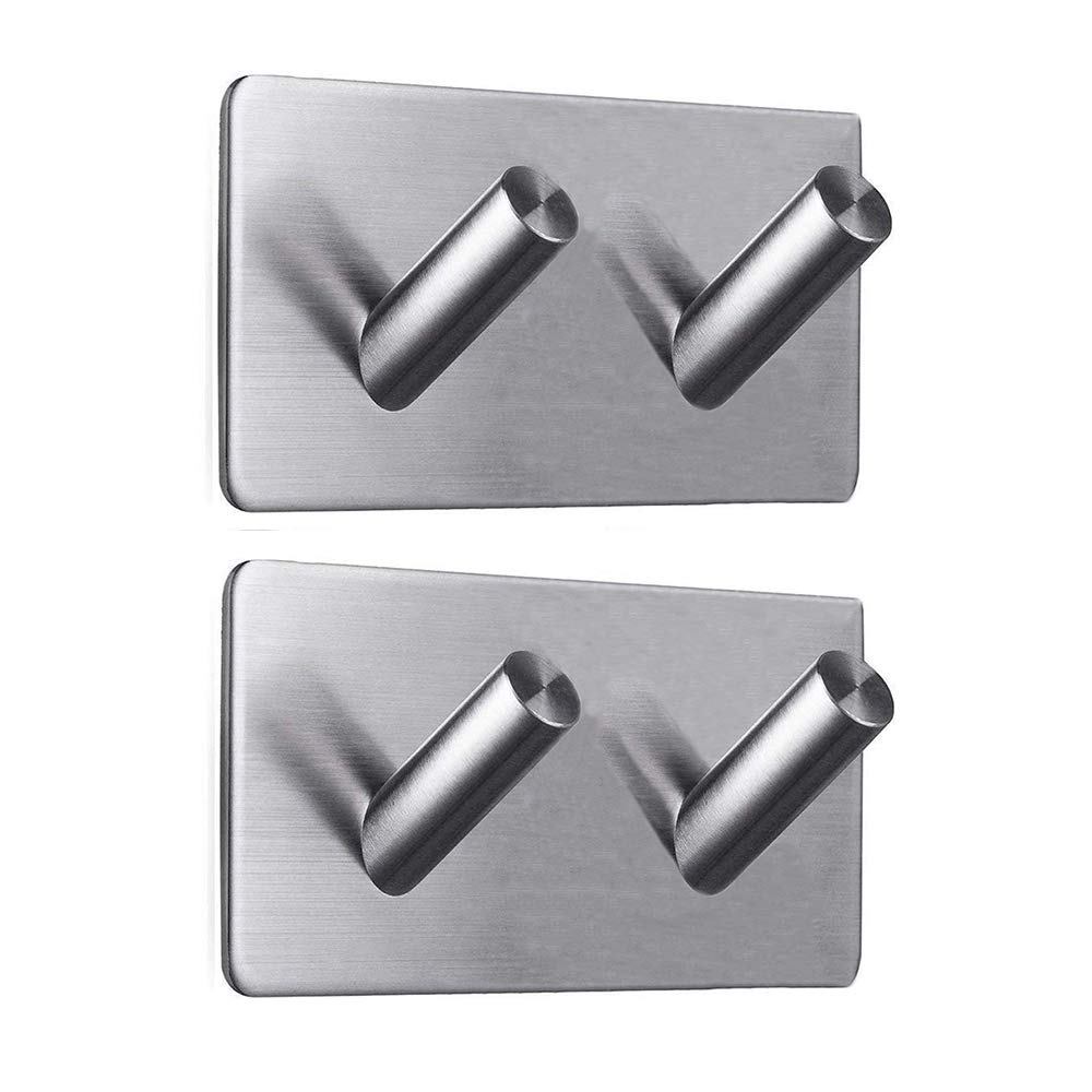 Self Adhesive Hooks, Key Coat Wardrobe Towel Office Strong Sticky Wall Hook, Bathroom Toilet Kitchen Waterproof and Rust-Proof Hook by Aeegulle (4 Pieces V)