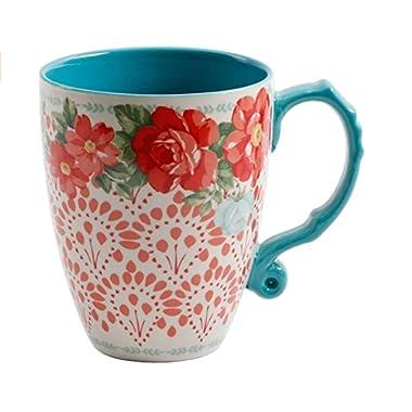 The Pioneer Woman Vintage Floral 28-Ounce Teal Jumbo Latte Mug