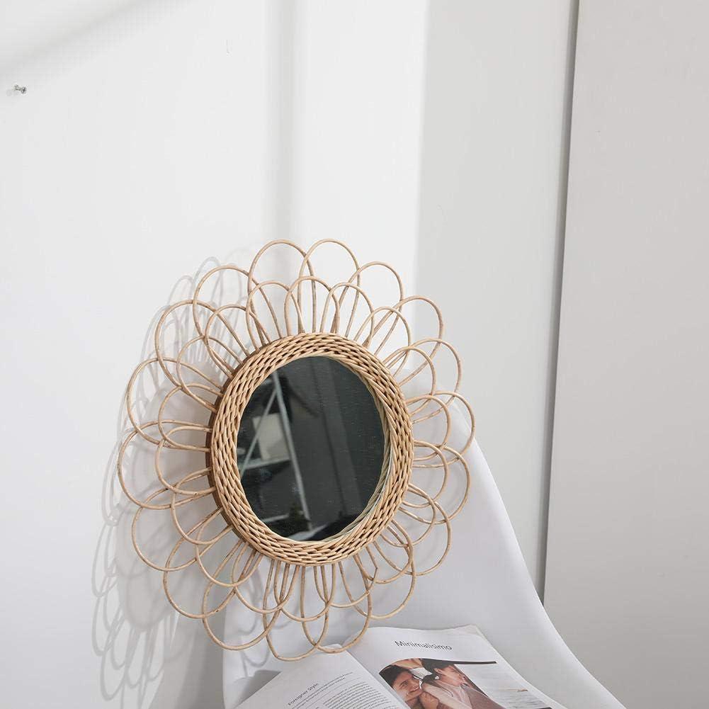 Camera da Letto o Bagno Innovativo Specchio Rotondo Art Deco Specchio Circolare da 16 Pollici Ideale per vanit/à Ecisi Specchio da Parete Moderno con Cornice Circolare in Rattan