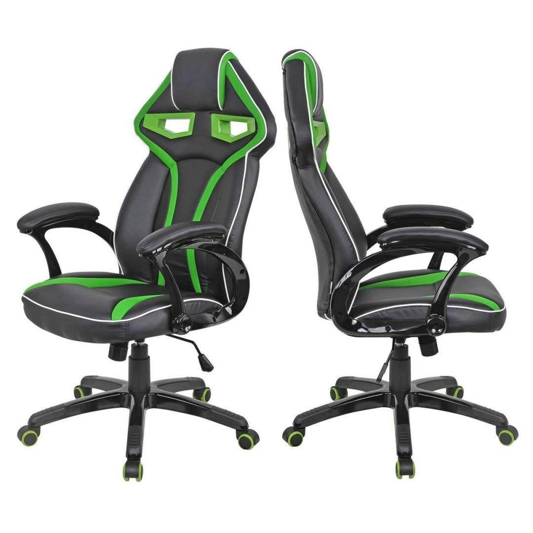 Modern Racing Car Style High Back Gaming Chair Comfortable Bucket Seat Adjustable Armrest Desk Task Thick Padded PU Leather Upholstery Posture Support Home Office Furniture - Set of 2 Green #2122 by KLS14
