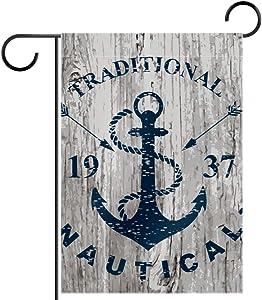 MEMMEI Blue Nautical Anchor 1937 Garden Flag Vertical Double Sided, Summer Flag Farmhouse Flag Yard Outdoor Decoration 28 x 40 Inch