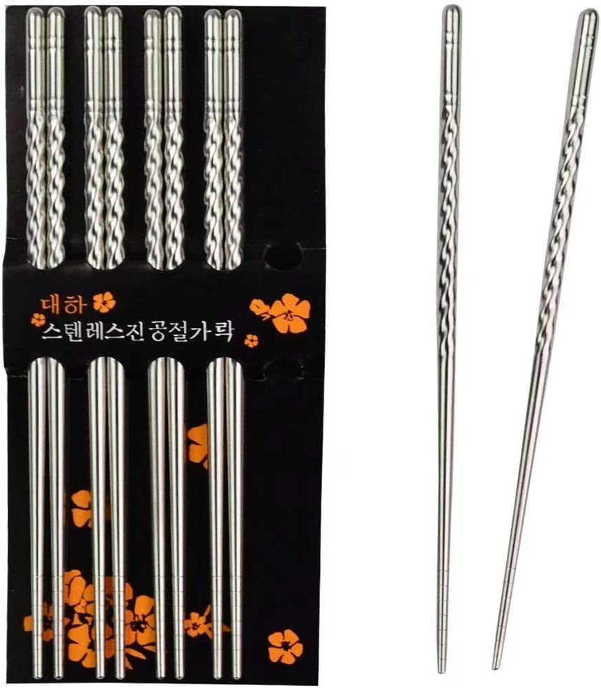Chopsticks Chantwon 5 Pairs 10pcs Stainless Steel Chopsticks Washable For Sushi Or Rice Dishes Reusable Amazon Co Uk Kitchen Home