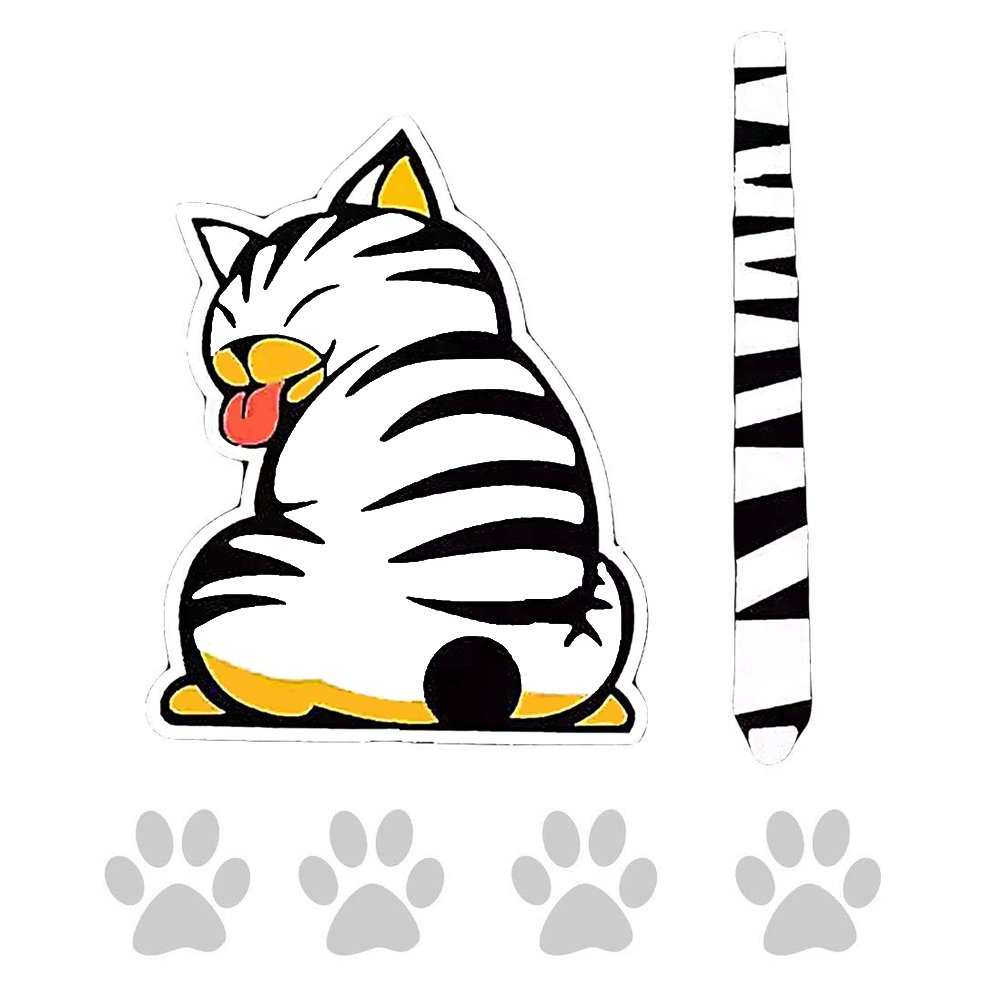 EQLEF® Funny Cat Cartoon Tail Moving autocollants réfléchissants voiture Essuie-glace Stickers Car Styling EQLEF®