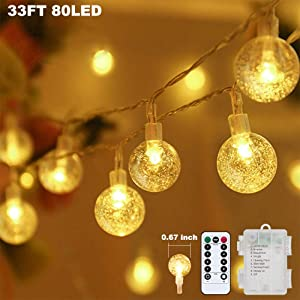 Metaku Globe String Lights Fairy Lights Battery Operated 33ft 80LED String Lights with Remote Waterproof Indoor Outdoor Hanging Lights Decorative Christmas Lights for Home Party Patio Garden Wedding