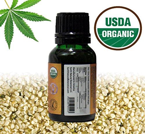 Earth Natural Botanical 100% PURE ORGANIC HEMP SEED (Unrefined) Cannabis sativa Kosher & Carrier Hemp Seed oil | 15mL (.51 fl oz) Glass BottleEuro Dropper