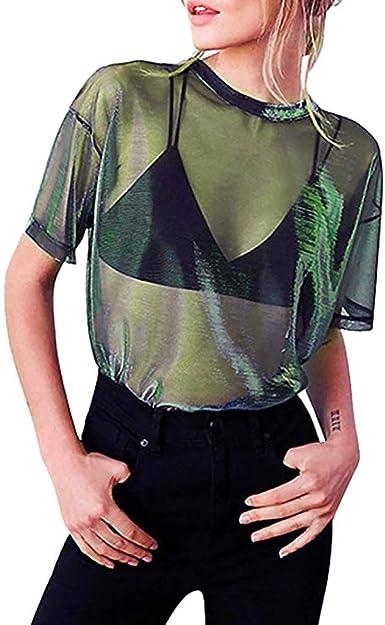 Luckycat Camisetas Transparentes De Mujer Camisetas Mujer Manga Corta Camisetas Mujer Verano Blusa Mujer Sport Tops Mujer Verano Camisetas Mujer Manga Corta Blusa Transparente Mujer Fiesta: Amazon.es: Ropa y accesorios