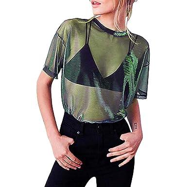 Col Femmes Transparent Courte Creux Manche T Bluestercool Rond Chemisier Shirt 0PwOk8n