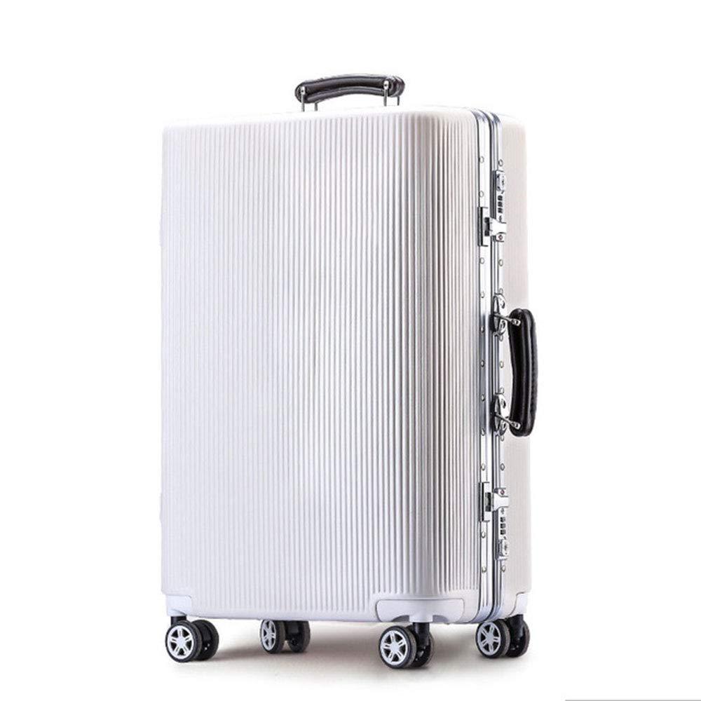 トロリーケース20インチ24インチスーツケースPCトランクユニバーサルホイール搭乗ケース (Color : 白, Size : 20 inches)   B07QYMB8V2