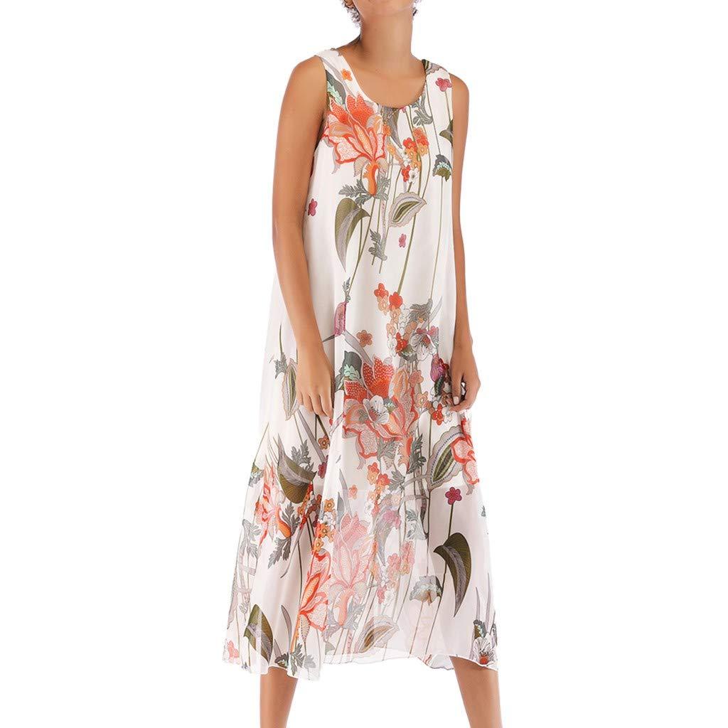 chengzhijianzhu Women's Summer Beach Boho Style Printed Chiffon Sleeveless Maxi Skirt Long Dress White