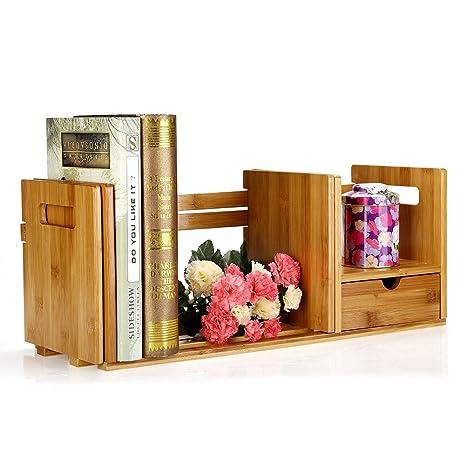 Desktop Organizer Bamboo Adjustable Bookshelf Display Shelf File Book Rack Stand Holder Table Counter