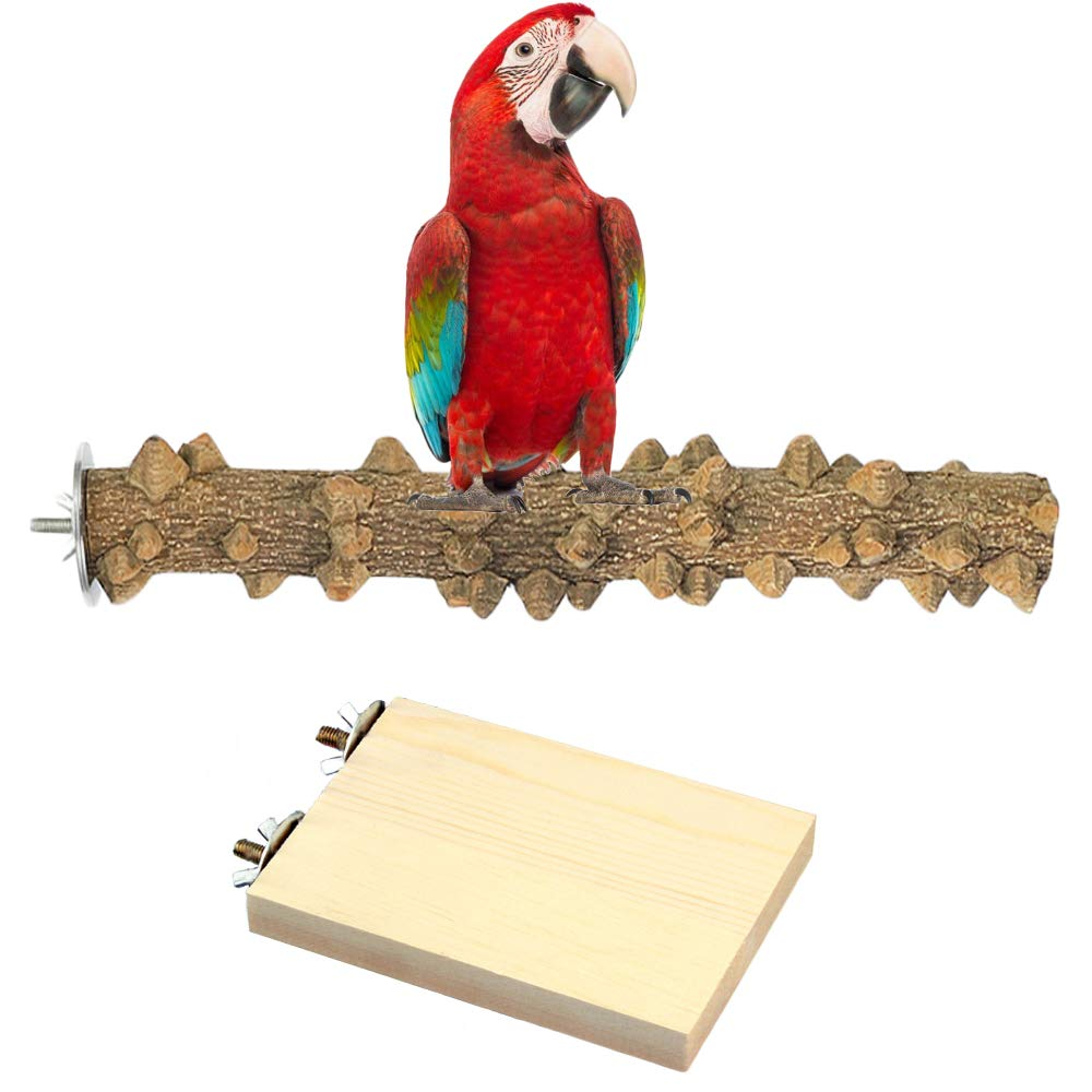 bluewhale Natural Wood Parrot Perch Set, Perches for Bird Cages, Bird Perches for Parrots, Cockatiel Perch, Paw Grinding Stick Round Wooden Platform Bird Chewing Toys Cage Accessories (Pine) by bluewhale