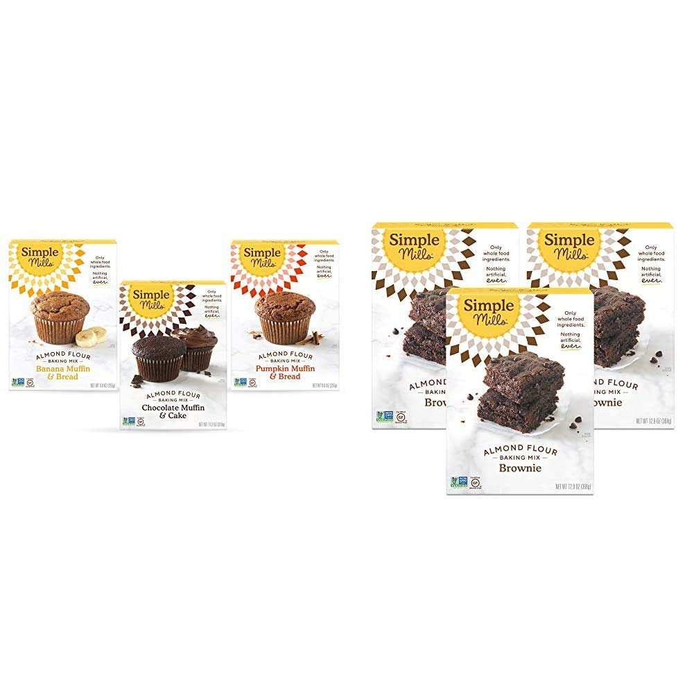 Simple Mills, Baking Mix Variety Pack, Banana Muffin & Bread, Chocolate Muffin & Cake, Pumpkin Muffin & Bread Variety Pack, 3 Count & Almond Flour Baking Mix, Gluten Free Brownie Mix, 3 Count
