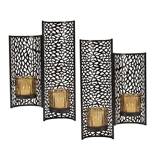 Mikasa Laser Cut Wall Sconces, Set of 2, Brown (Sconces Set Wall Decor)