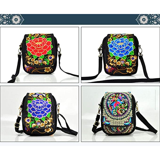 AOLVO Vintage Printed Handmade Ethnic Embroidery Women Mini Crossbody Bag Tribal Shoulder Bag Boho Bucket Bag Cellphone Pouch Small Handbag Coin Purse Women's Handbags Handbags & Shoulder Bags