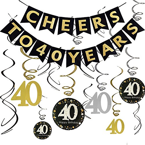 40th BIRTHDAY PARTY DECORATIONS KIT - Cheers to 40 Years Banner, Sparkling Celebration 40 Hanging Swirls, Perfect 40 Years Old Party Supplies 40th Anniversary Decorations (40 Years)