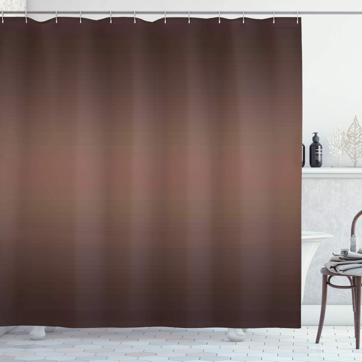 Ambesonne Ombre Shower Curtain, Dark Chocolate Healty Foods Brown Color Inspired Ombre Design Digital Print Artwork Image, Cloth Fabric Bathroom Decor Set with Hooks, 70