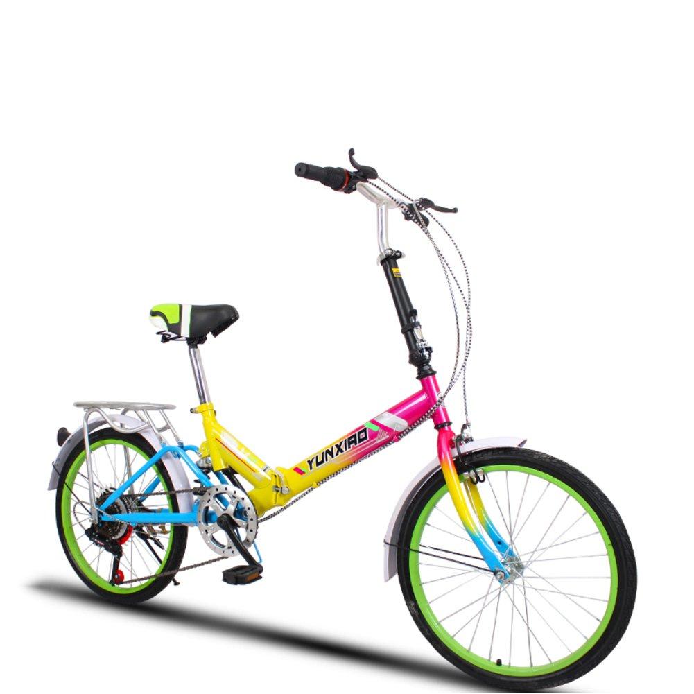 学生折りたたみ自転車, 折りたたみ自転車 女性のサイクリング 超軽量 ポータブル ミニ 男性 折り畳み自転車 B07DFLBCKHカラフルB 20inch