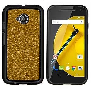 For Motorola Moto E 2nd Generation - Golden Brown Leather Pattern /Modelo de la piel protectora de la cubierta del caso/ - Super Marley Shop -
