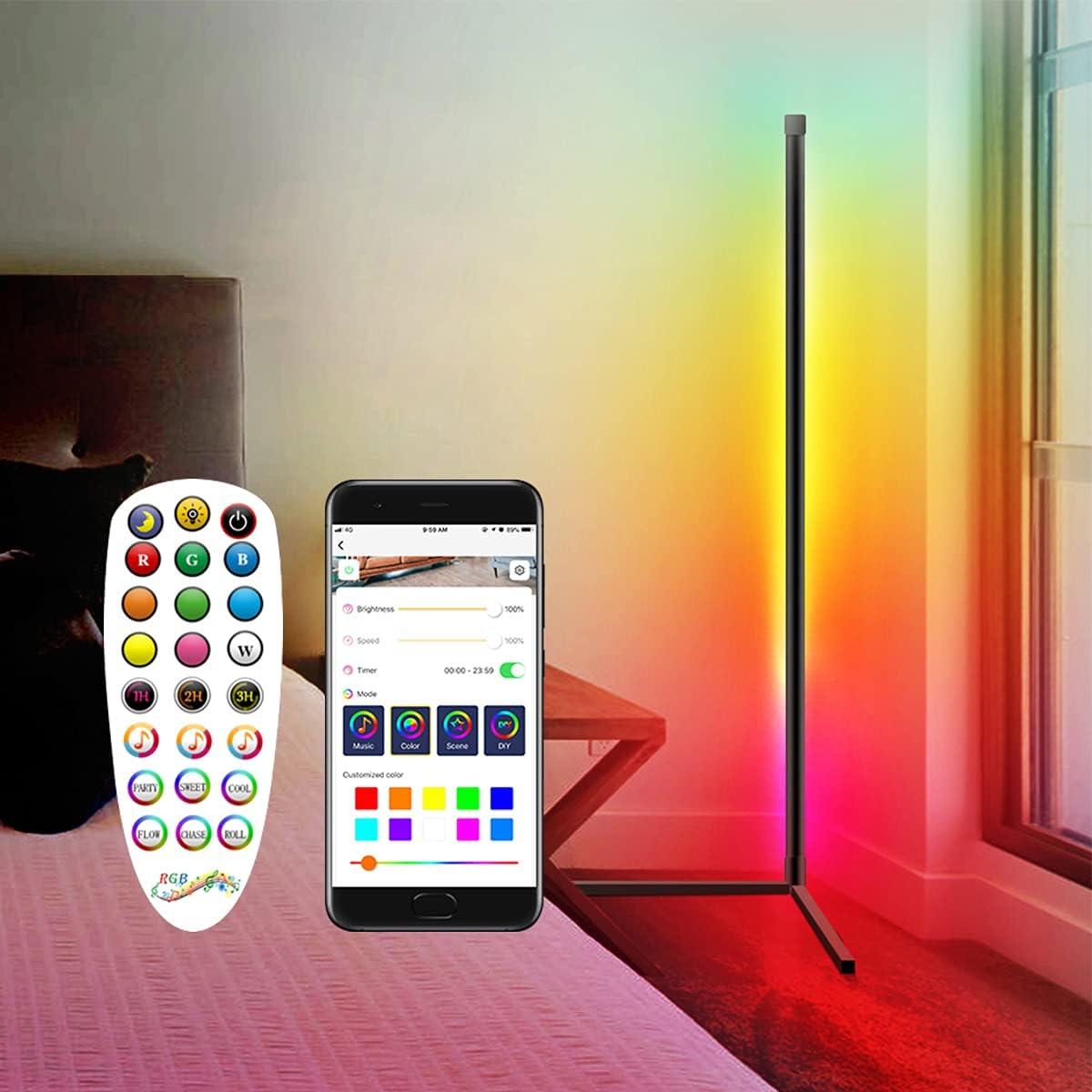 RGB Colorful Corner Floor Lamp, Dimmable LED Corner Light, 61