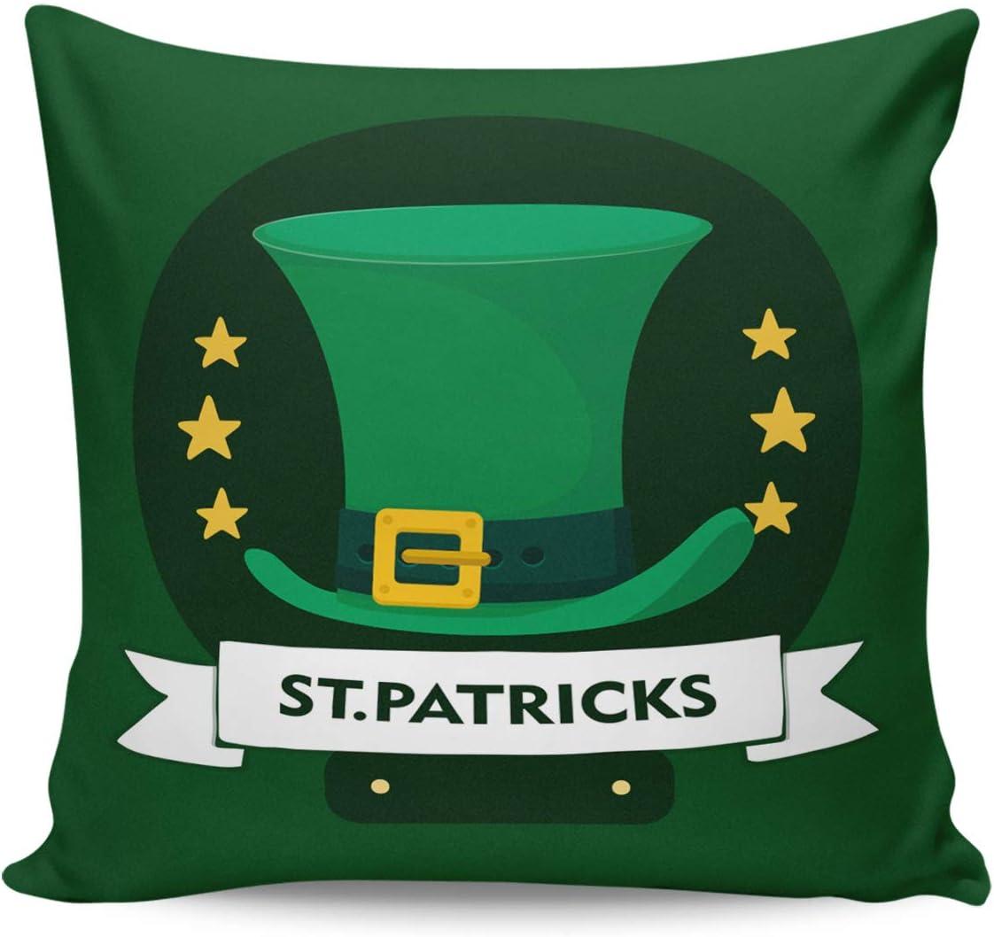 Winter Rangers Fundas de almohada decorativas para el día de San Patricio, sombrero de duende verde amarillo, estrella de cinco puntas, funda de cojín cuadrada cómoda para sofá dormitorio, 66 x 66 cm