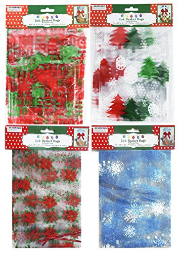 Holiday Basket Bags With Twist Ties 4 Designs Set (Baskets By Design)