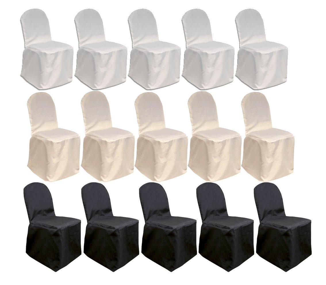 Mcombo 100 pcs Polyester Banquet Chair Covers Wedding Party Decorations 7000-4000 (White)