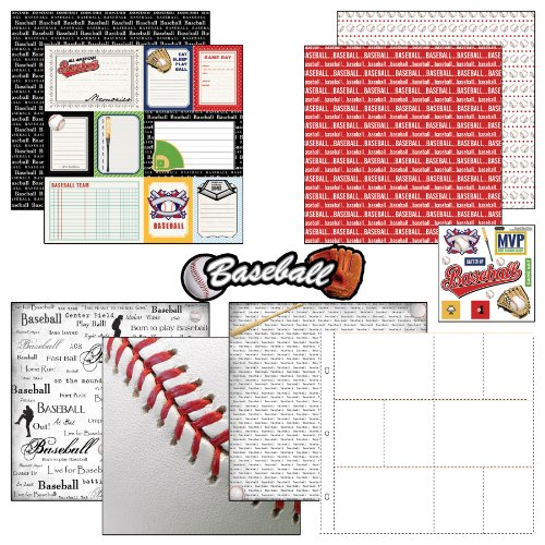 Baseball Photo Album - Scrapbook Customs Themed Paper and Stickers Scrapbook Kit, Baseball Journal