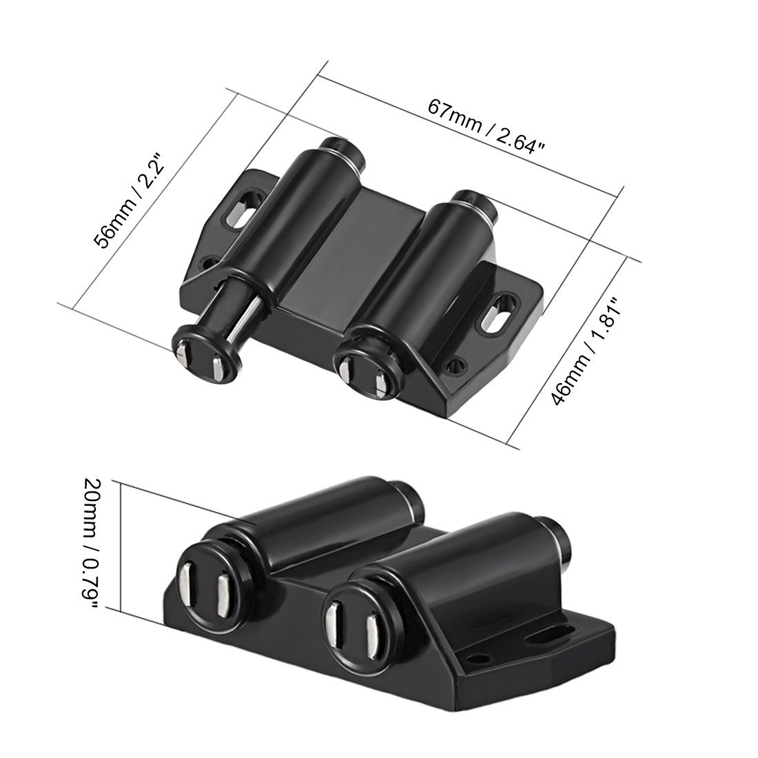 uxcell Double Magnetic Touch Catch Latch Plastic PE Black for Cabinet Door Shutter 5Pcs by uxcell (Image #1)
