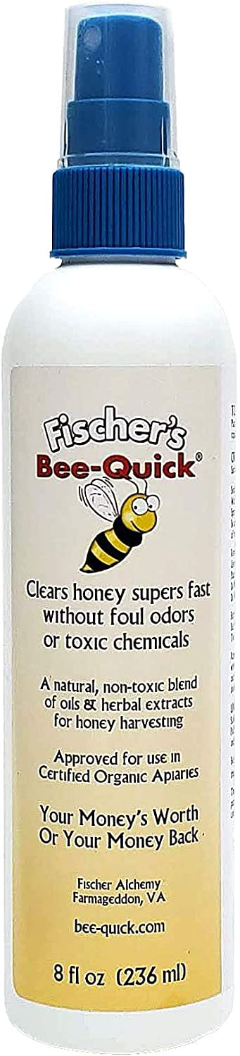 Fischer's Bee Quick Bee Repellent for Removing Honey Bees from Beekeeping Equipment in a Safe and Organic Way (8 oz Bottle)