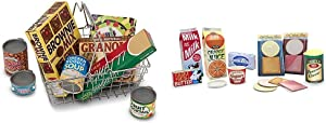 Melissa & Doug Let's Play House! Grocery Basket with Play Food, Great Gift for Girls and Boys - Best for 3, 4, and 5 Year Olds & Let's Play House Fridge Fillers