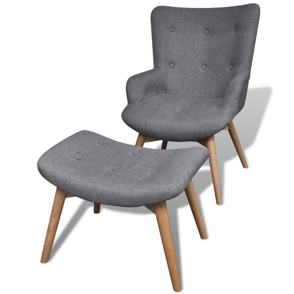 Amazon com daonanba combine style comfortable armchair with footstool gray fabric upholstery kitchen dining