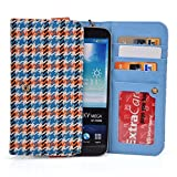 Kroo Orange Houndstooth JUNING 6.0'' Unlocked Android Phone Phablet Cases | Mini Clutch with Bonus Wrist-let