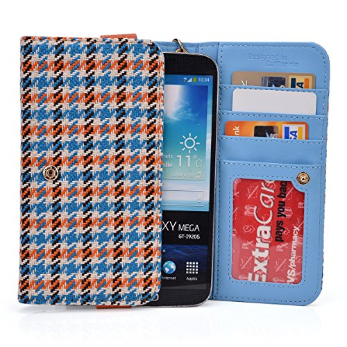 Kroo Orange Houndstooth JUNING 6.0'' Unlocked Android Phone Phablet Cases | Mini Clutch with Bonus Wrist-let by EnvyDeal