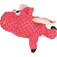 goDog Just for Me Flying Pig Checkers with Chew Guard Technology Tough Plush Dog Toy, Pink