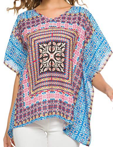 WEIYAN Women's Loose Casual Short Sleeve Floral Chiffon Tops T-Shirt Blouse (Small, Sky Blue)