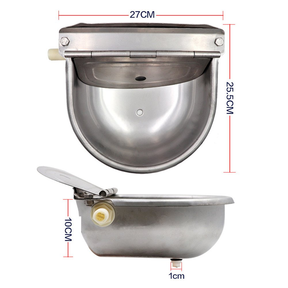 Automatic Waterer Bowl With Drainage Hole, HomeYoo Upgraded 304 Stainless Steel Stock Waterer with Float Valve Water Trough for Horse Cattle Goat Sheep Hog Pig Dog Lamb Livestock Drinker Bowl (Silver) by HomeYoo