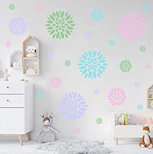 Blooming Flower Wall Decal, Attractive Floral Fireworks Pattern Sticker for Holiday Decoration, Beautiful Circle Window Cling Decor and Girls Bedroom Decor (28pcs Multicolor Decals)
