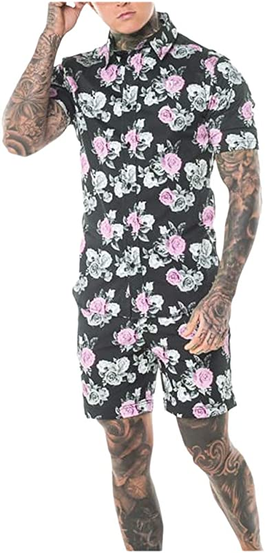 Mens Casual Floral Button Down Shirt and Shorts 2 Piece Set Outfits